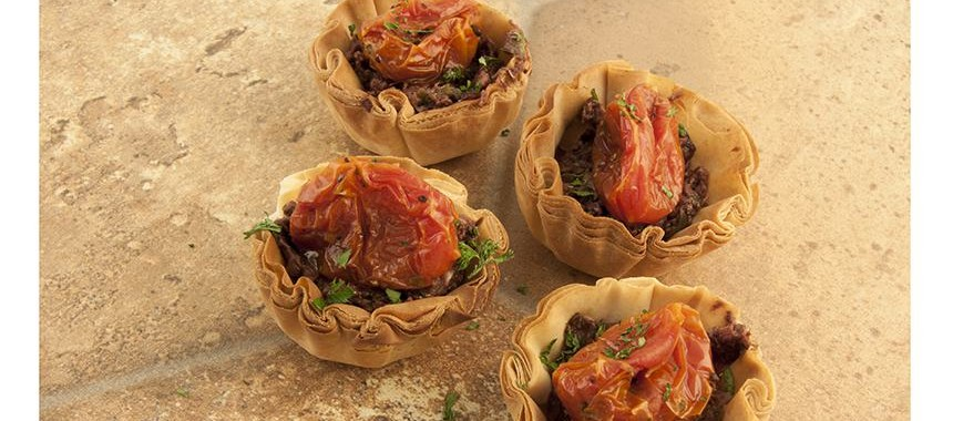 Kalamata Tapanade with Roasted Cherry Tomatoes in Fillo Cups