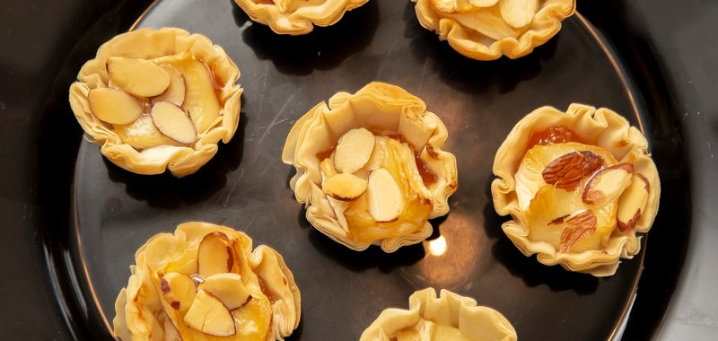 Apricots, Almonds and Brie in Fillo Pastry Cups