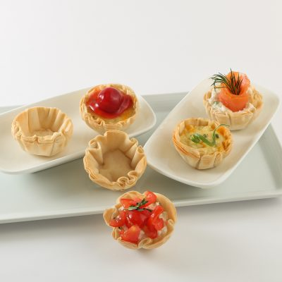 fillo cups on a white tray, ideas for brunch food