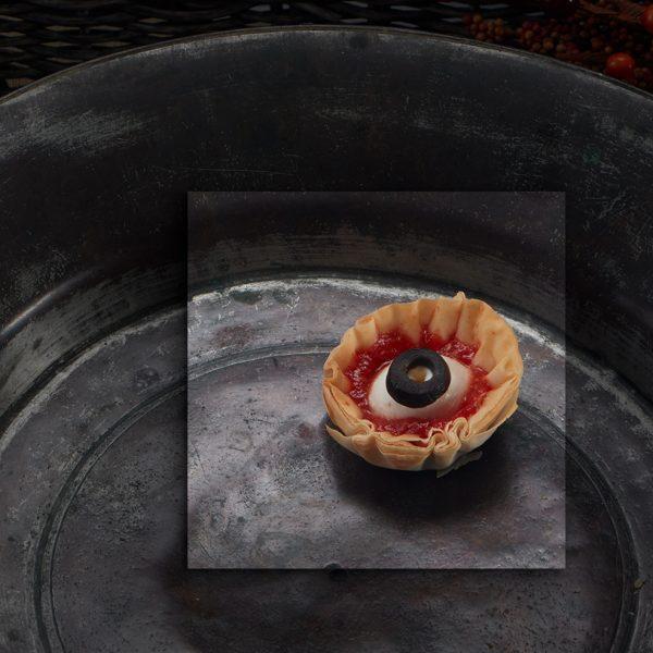 Creepy Halloween platter of eyeballs in cups