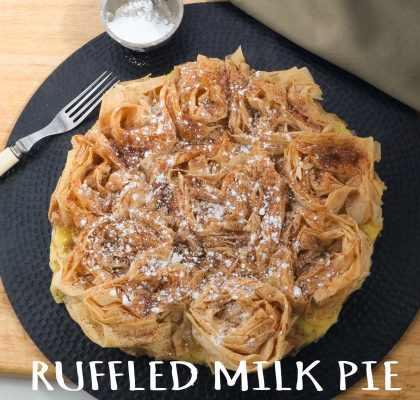 Phyllo dough made into rosettes an baked with custard