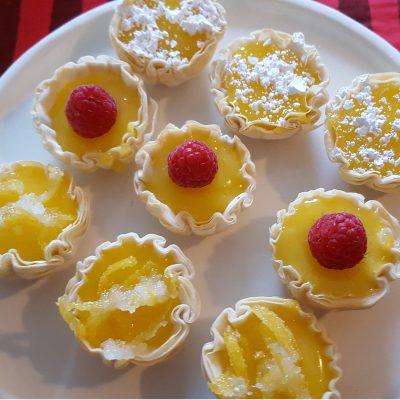 Petite Lemon Curd Tartlets in Fillo Cups